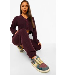 gebreide cardigan en wide leg broek set, grape