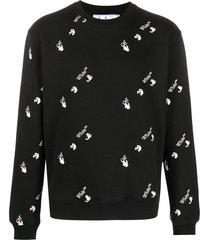 off-white all-over slim crew neck sweatshirt - black