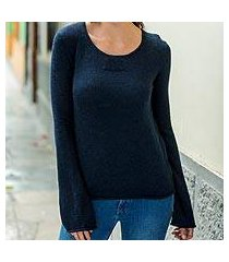 alpaca blend sweater, 'navy blue charisma' (peru)