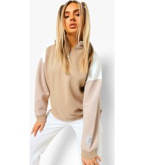 official product colour block sweater met halve rits, taupe