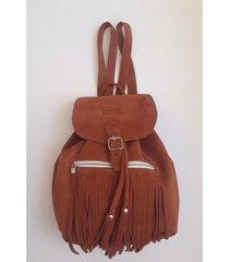 mochila de cuero marrón ríe más cueros andre