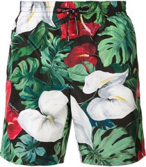 dolce & gabbana anthurium print swim shorts - green