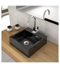 cuba de apoio para banheiro compace q355w quadrada preta