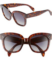 celine 54mm polarized square sunglasses in red havan/smoke at nordstrom