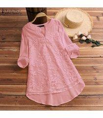 zanzea las mujeres más del manga larga camiseta floral v del cuello de la blusa holgada del suéter tops tee -rosado