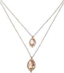 colar duplo armazem rr bijoux cristais gota rose - feminino