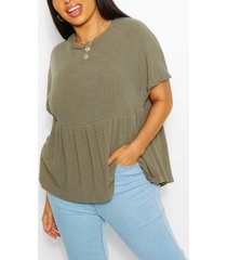 plus super soft rib smock top, khaki