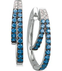 le vian blueberry layer cake blueberry sapphires (1-1/6 ct. t.w.) & vanilla sapphires (1/5 ct. t.w.) earrings in 14k white gold