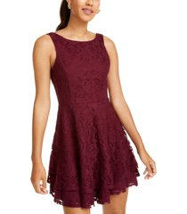 speechless juniors' lace double-skirt fit & flare dress, created for macy's