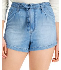 celebrity pink juniors' high-rise pleated belted jean shorts