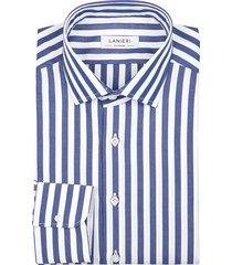 camicia da uomo su misura, grandi & rubinelli, blu riga larga natural stretch, quattro stagioni