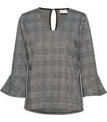 dora checked blouse blus långärmad grå kaffe