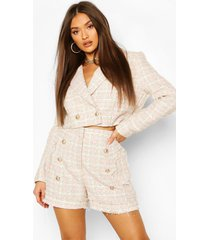 boucle flanneled gold button cropped blazer, pink