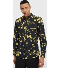 premium by jack & jones jprblamotive print shirt l/s plain skjortor svart