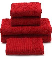 jogo de banho 5 pã§s buddemeyer florentina vermelho 70x135 - vermelho - dafiti