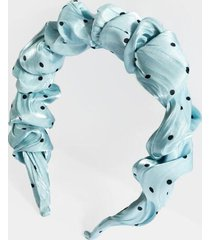 matilda polka dot ruched headband - light blue