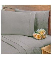 lençol avulso c/ elástico percal 400 fios cama solteiro cinza