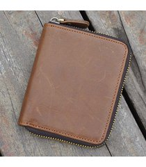 uomo vintage portafoglio a tri-fold in pelle vera