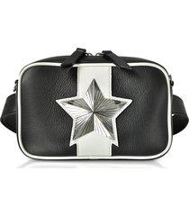 les jeunes etoiles designer handbags, black and white leather vega belt bag w/chain strap