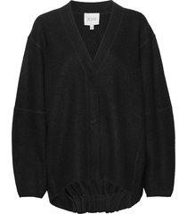 bea long stickad tröja cardigan svart dagmar