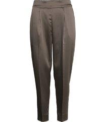 this elegant trousers are made from a luxurious po lyester s byxa med raka ben grå second female