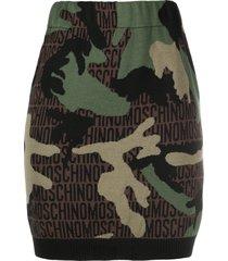 moschino camouflage knitted mini skirt - green