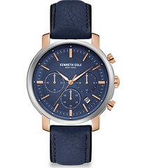 dress sport stainless steel chronograph leather-strap watch