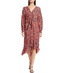 kinsale tie-front silk georgette midi dress