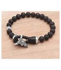 lava stone beaded bracelet, 'rugged power' (indonesia)