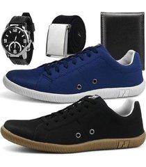 kit de sapatênis casuais sapatofran street com relógio, cinto e carteira - masculino
