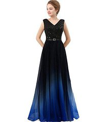 lemai v neck long sequined ombre chiffon gradient prom evening dresses black roy