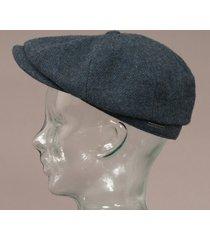 stetson wool hatteras flat cap - blue 6840514-325