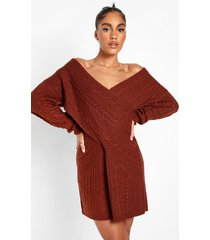 grof gebreide trui jurk met open schouders, mahogany