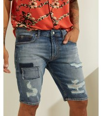 guess men's color-block destroyed denim shorts