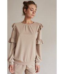 bluza beżowa z falbankami