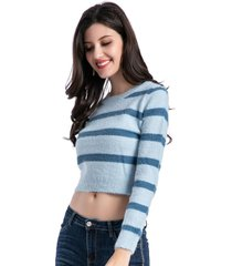 sweater crop rayas bicolor celeste nicopoly