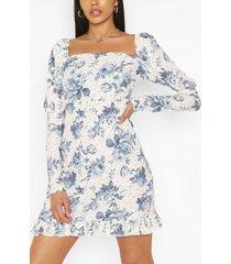 tall woven spot floral print puff sleeve dress, ivory