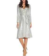 women's dress the population daphne long sleeve sequin cocktail dress, size xx-large - metallic