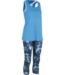 leggings funzionali, top, bustier (set 3 pezzi) (blu) - bpc bonprix collection
