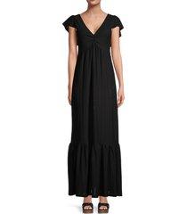 betsey johnson women's eyelet flutter-sleeve maxi dress - black - size xs