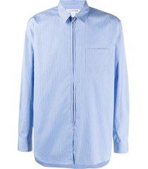 comme des garçons shirt pinstripe zip-up shirt - blue