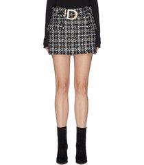 belted lurex tweed mini skirt