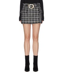 belted lurex tweed mini skirt