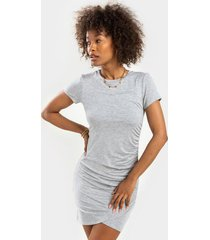 blair ruched mini dress - heather gray