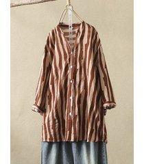 camicetta da donna con stampa a righe e collo alto 3/4 lunghezza