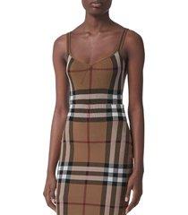 women's burberry kiela check jacquard bodysuit, size x-small - brown