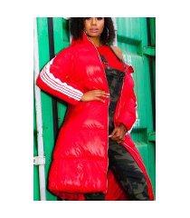 trendy lange winterjas met capuchon rood