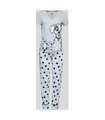 pijama feminino dálmatas estampado de poá manga curta cinza mescla