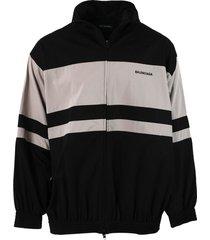 black and beige zip-up jacket