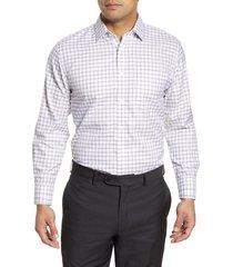 men's big & tall nordstrom men's shop smartcare(tm) traditional fit plaid dress shirt, size 20 - 38/39 - brown